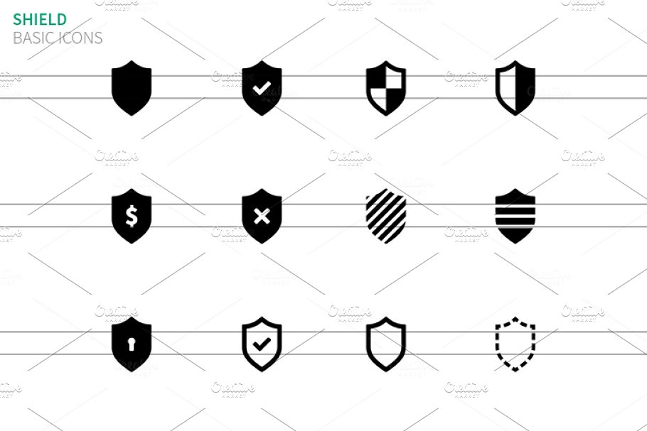 Shield icons on white