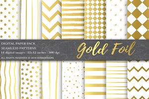 Gold Foil Digital Paper Pack