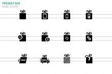 Present box icons set on white