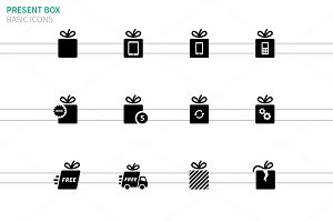 Present box icons set on white
