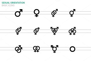 Gender identities icons on white