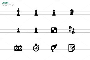 Chess icons on white