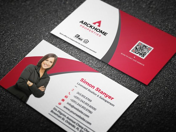 Real estate business card business card templates creative market real estate business card business cards flashek Gallery