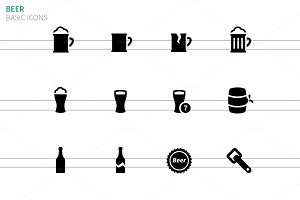 Beer icons on white