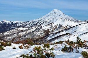 Winter snowy mountainous landscape
