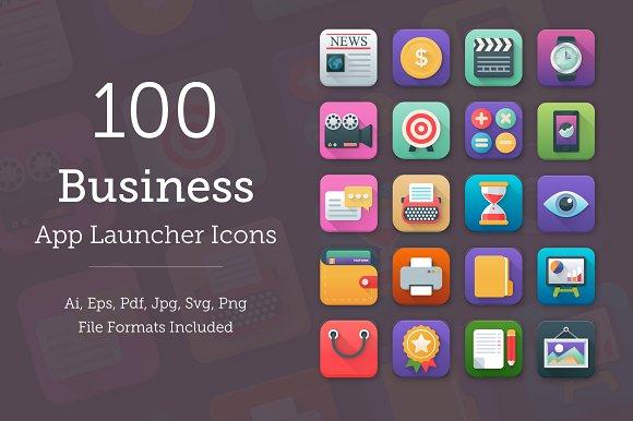 100 Business App Icons Set
