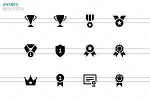Medals and cup icons
