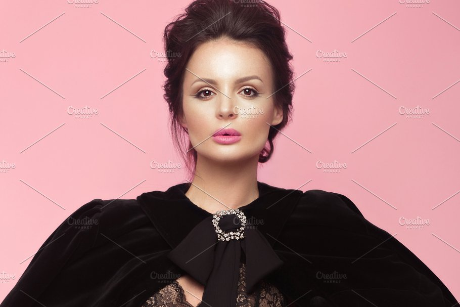 Fashion Beautiful Woman In Black Dress With Bow Retro Make Up And