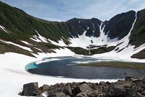 Summer mountain lake landscape