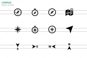 Compass icons on white