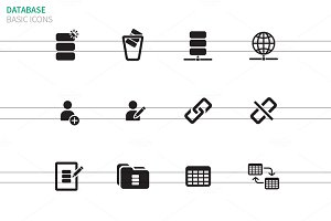 Database icons on white