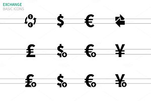 Exchange Rate icons on white