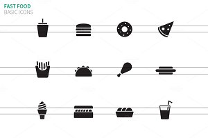Fast food icons on white