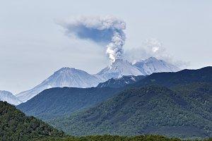 Scenery summer eruption volcano