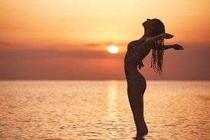 silhouette of a beautiful sexual girl against the sea and sunset