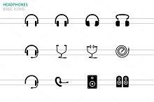 Headphones and speakers icons
