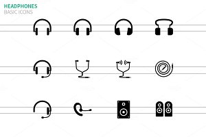 Headphones and speakers icons