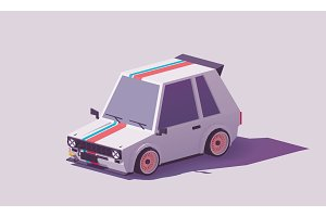 Vector low poly hot hatch