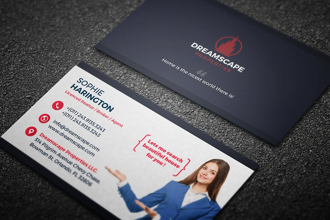 Real Estate Business Card ~ Business Card Templates ~ Creative Market