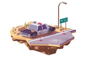 Vector low poly classic American police car