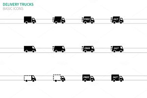 Delivery Trucks icons on white