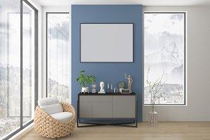 Interior mockup - blank wall mockup