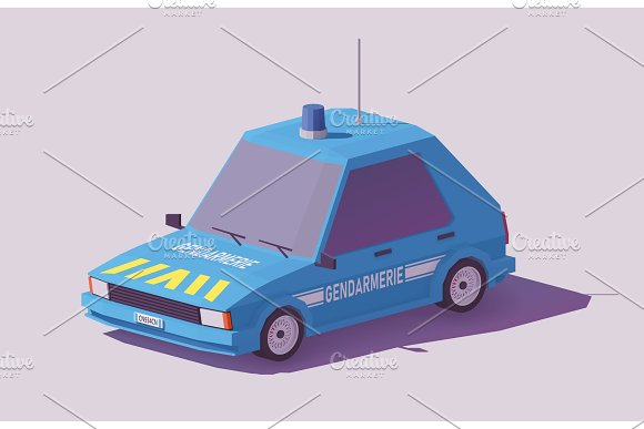 Vector Low Poly French Gendarmerie Car