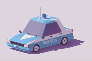 Vector low poly Italian police car