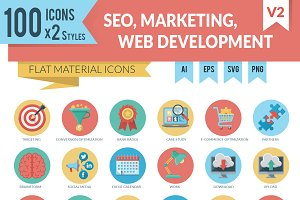 Flat Icons for SEO and Marketing
