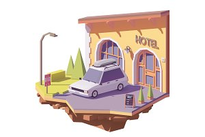 Vector low poly car and hotel