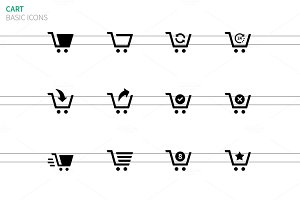 Shopping cart icons on white