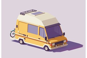 Vector low poly RV camper van