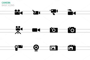 Camera icons on white