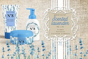 Scented lavender PNG watercolor set