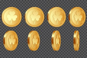 Set of 3d three-leaf clover coins.