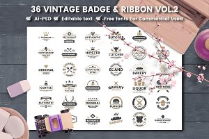 36 VINTAGE BADGE & RIBBON Vol.2