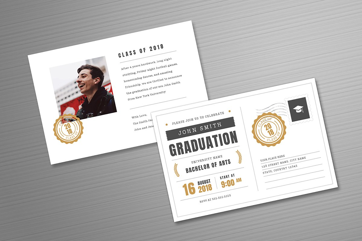 Postcard Graduation Invitation ~ Postcard Templates ~ Creative Market