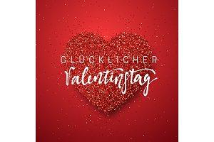 Happy Valentines Day. lettering German Inscription handmade.