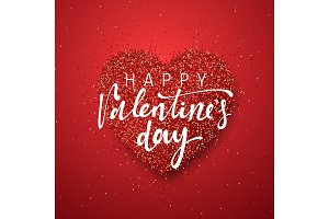 Happy Valentines Day lettering greeting card on red bright heart background.