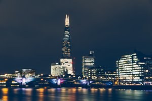 London shard skyline night