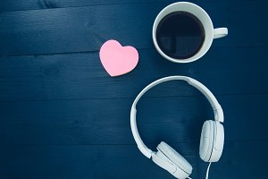 Love music headphones coffee