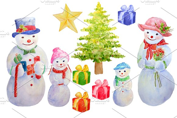 Watercolor Snowman Collection