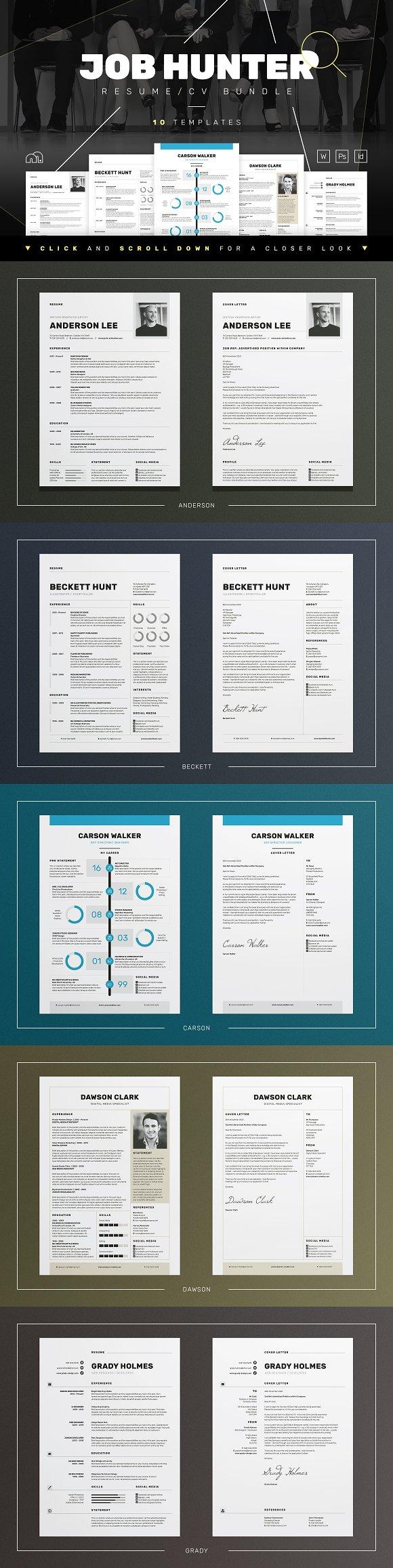 JOB HUNTER - Resume/CV Bundle ~ Resume Templates ~ Creative Market