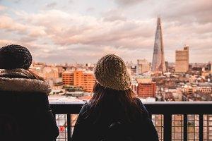 Friends in London skyline