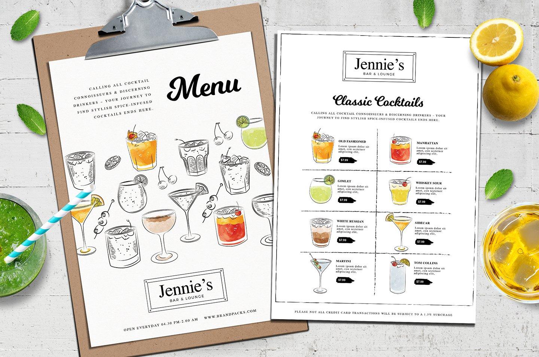 Cocktail Menu Template Vol Flyer Templates Creative Market - Beverage menu template