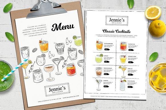 Cocktail Menu Template Vol3 Flyer Templates Creative Market