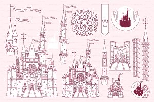 ♡ vector Castle fortress items 01