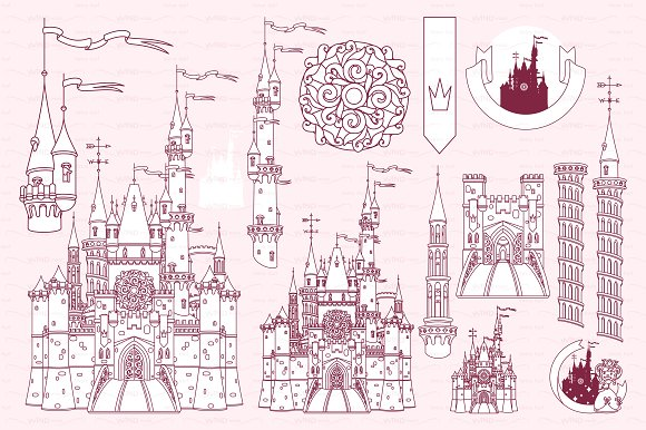 Vector Castle Fortress Items 01