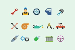 15 Car Servicing Icons