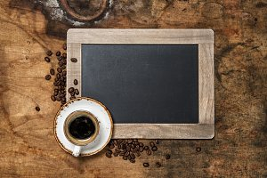 Black coffee and vintage chalkboard